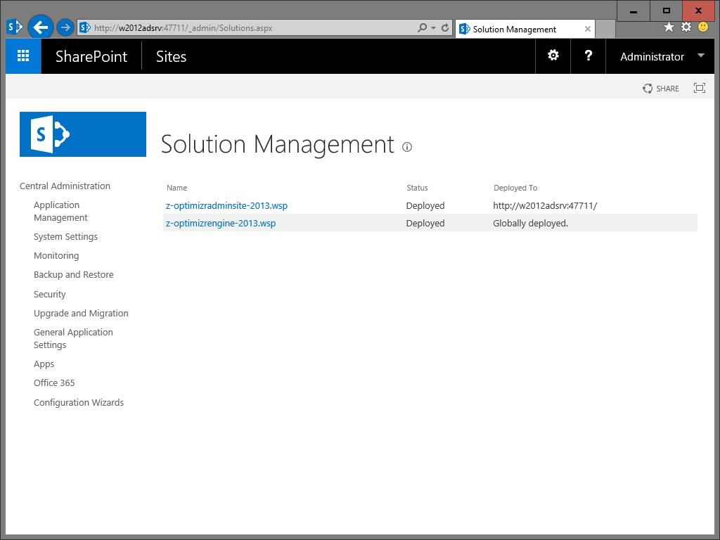 The Z-OptimiZr WSP in the SharePoint Central Adm Solution Management panel