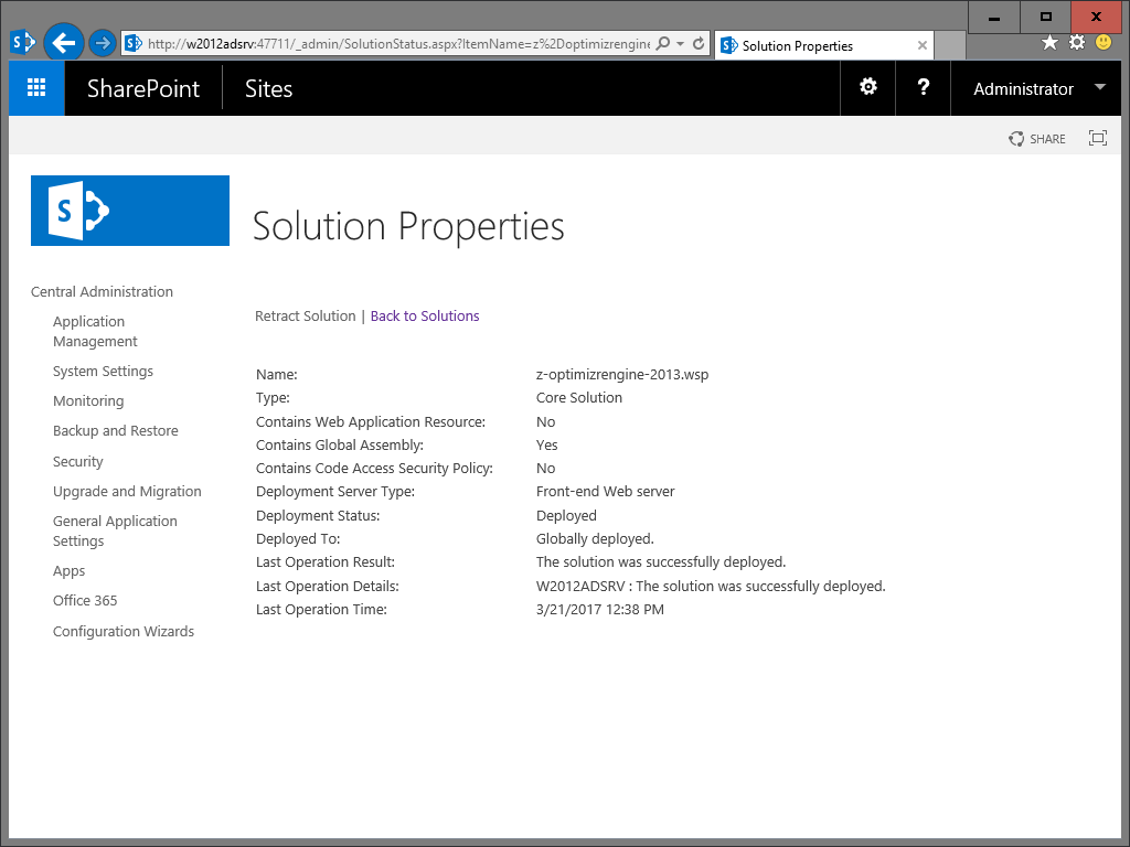 The Z-OptimiZr WSP in the SharePoint Central Adm Solution Management panel - Properties