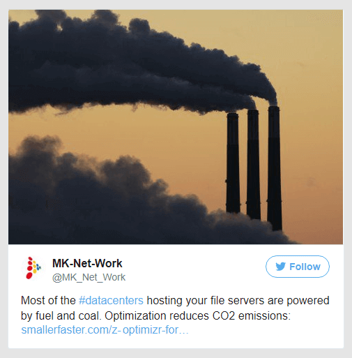 File Server Optimization reduces CO2 emissions