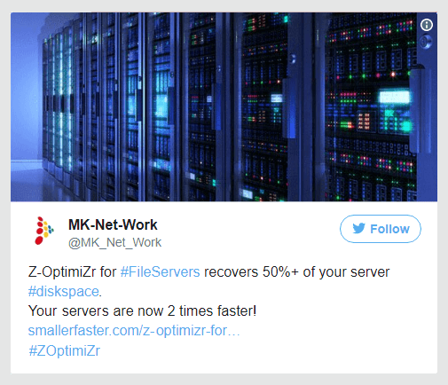WIth 50% less data to serve, your file servers are 2 times faster