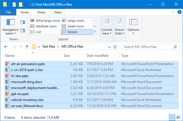 MS Office files after optimization
