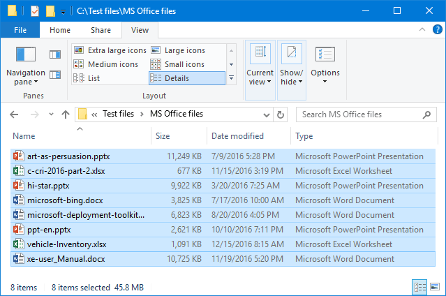 MS Office files before optimization.